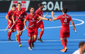 Belgium celebrate a goal during the Pro League Hockey match between the Blacksticks Women and Belgium, National Hockey Arena, Auckland, New Zealand, Sunday 2 February 2020. Photo: Simon Watts/www.bwmedia.co.nz