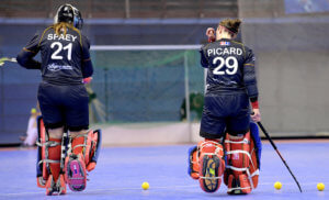 MINSK - EuroHockey Indoor Championship 2020 (W) Germany v Belgium (Pool A) Picture: Morgane Spaey (GK) and Elodie Picard (GK)  WORLDSPORTPICS COPYRIGHT FRANK UIJLENBROEK