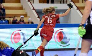 MINSK - EuroHockey Indoor Championship 2020 (W) Austria v Belgium (Pool C) Picture: Belgium scored 1-0 Laurine Delforge (C)  WORLDSPORTPICS COPYRIGHT FRANK UIJLENBROEK