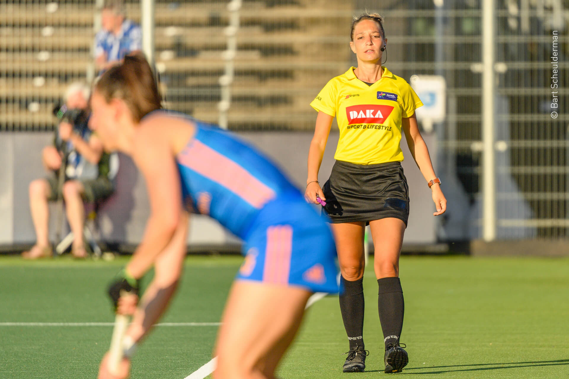 Amstelveen, 07-06-2021, Wagener Stadion, EuroHockey Championship 2021 Women. Spain - Netherlands. Umpire Celine Martin-Schmets.